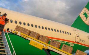 Eva cargo plane loading packages