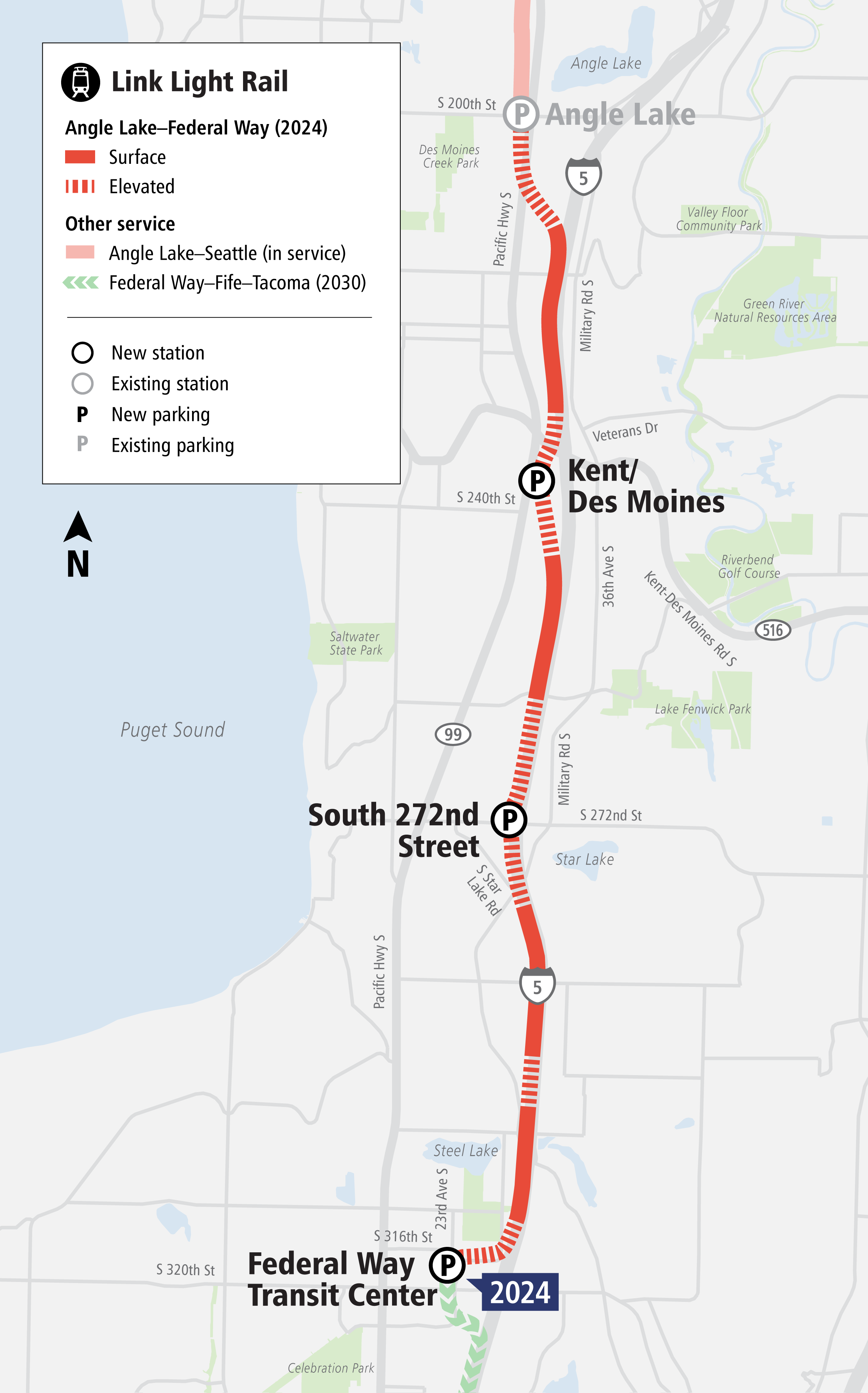 Link Light Rail Extension to Federal Way map